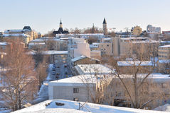 Finland. Mening van Lappeenranta vóór zonsondergang Stock Fotografie