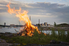 Finland: Mid summer bonfire. Mid summer festival is one of the most important annual festivals in Finland and in Nordic countries. Bonfires are burned around the Royalty Free Stock Photo