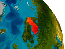 Finland on model of planet Earth. Finland highlighted in red on detailed model of planet Earth. 3D illustration. Elements of this image furnished by NASA Stock Images