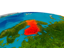 Finland on model of planet Earth. Finland highlighted in red on detailed model of planet Earth. 3D illustration. Elements of this image furnished by NASA Stock Photos