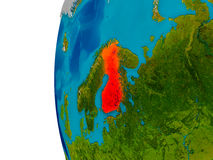 Finland on model of planet Earth. Finland highlighted in red on detailed model of planet Earth. 3D illustration. Elements of this image furnished by NASA Stock Image