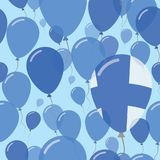 Finland National Day Flat Seamless Pattern. Flying Celebration Balloons in Colors of Finnish Flag. Happy Independence Day Background with Flags and Balloons Stock Photography
