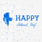 Finland National Day patriotic poster. Flying Rubber Balloon in Colors of the Finnish Flag. Finland National Day background with Balloon, Confetti, Stars Royalty Free Stock Image