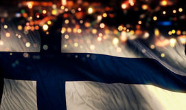 Finland National Flag Light Night Bokeh Abstract Background Stock Image