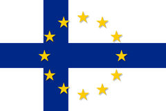 Finland national flag with a star circle of EU. Finland national flag with a circle of European Union twelve gold stars, symbol of unity with EU, member since 1 Stock Images