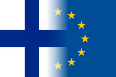 Finland national flag with a star circle of EU. Finland national flag with a flag of European Union twelve gold stars, symbol of unity with EU, member since 1 Stock Images