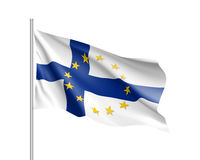 Finland national flag with a star circle of EU. Finland national waving flag with a circle of European Union twelve gold stars, symbol of unity with EU, member Stock Image