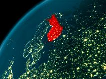 Finland at night on Earth. Night map of Finland as seen from space on planet Earth. 3D illustration. Elements of this image furnished by NASA Stock Images