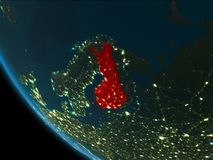 Finland at night from orbit. Finland from orbit of planet Earth at night with highly detailed surface textures. 3D illustration. Elements of this image furnished Stock Images