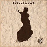 Finland old map with grunge and crumpled paper. Vector illustration Royalty Free Stock Photos