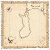 Finland old pirate map. Sepia engraved template of treasure map. Stylized pirate map on vintage paper Royalty Free Stock Photos
