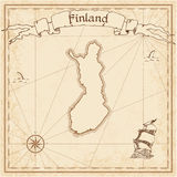 Finland old treasure map. Sepia engraved template of pirate map. Stylized pirate map on vintage paper Royalty Free Stock Photos