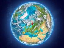 Finland op aarde in ruimte Royalty-vrije Stock Afbeeldingen