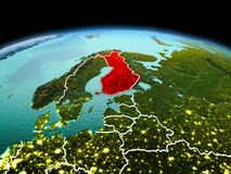 Finland op aarde in ruimte Stock Foto's