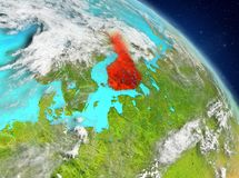 Finland from orbit. Illustration of Finland as seen from Earth's orbit. 3D illustration. Elements of this image furnished by NASA Stock Images