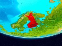 Satellite view of Finland in red. Finland from orbit of planet Earth. 3D illustration. Elements of this image furnished by NASA Royalty Free Stock Photo