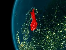 Night view of Finland. Finland from orbit of planet Earth at night with highly detailed surface textures. 3D illustration. Elements of this image furnished by Royalty Free Stock Images