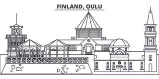 Finland, Oulu line skyline vector illustration. Finland, Oulu linear cityscape with famous landmarks, city sights. Vector design landscape Royalty Free Stock Photo