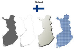 Finland outline map set. Finland blank detailed vector outline map set Royalty Free Stock Photography