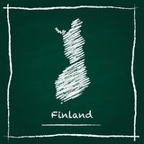Finland outline vector map hand drawn with chalk. Finland outline vector map hand drawn with chalk on a green blackboard. Chalkboard scribble in childish style Stock Photos