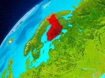 Finland på jord från utrymme Fotografering för Bildbyråer