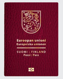 Finland pass. Vector Finland leather passport cover Stock Photos