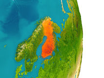 Finland on planet. Finland highlighted in red on planet Earth. 3D illustration with detailed planet surface. Elements of this image furnished by NASA Royalty Free Stock Images