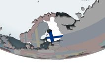 Finland with flag on globe. Finland on political globe with embedded flag. 3D illustration Stock Photos
