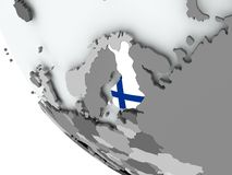 Flag of Finland on political globe. Finland on political globe with embedded flags. 3D illustration Royalty Free Stock Images