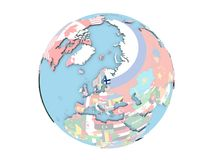 Finland on globe isolated Stock Images
