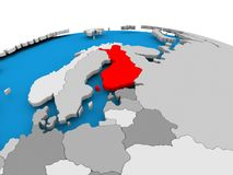 Finland on political globe. Finland highlighted in red on political globe. 3D illustration Royalty Free Stock Photos