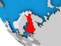 Finland on political globe. Map of Finland in red on political globe. 3D illustration Stock Photos