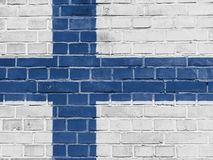 Finland Politics Concept: Finnish Flag Wall. Background Texture royalty free stock photography