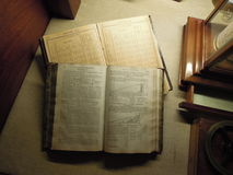 Finland, Pori, Maritime Museum. Still life with old sea directories (books Royalty Free Stock Image