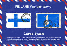 Finland postage stamp, vintage stamp, air mail envelope. Stock Photos
