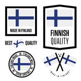 Finland quality label set for goods. Finland quality isolated label set for goods. Exporting stamp with finnish flag, nation manufacturer certificate element Royalty Free Stock Image