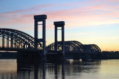 Finland Railway bridge at dawn Stock Photo