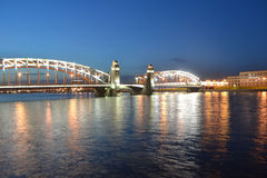 Finland Railway Bridge at night Royalty Free Stock Image
