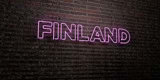 FINLAND -Realistic Neon Sign on Brick Wall background - 3D rendered royalty free stock image Royalty Free Stock Photography