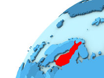 Finland in red on blue globe. Finland in red on simple blue political globe. 3D illustration Stock Photo