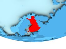 Finland in red on blue map. Illustration of Finland highlighted in red on blue globe. 3D illustration Royalty Free Stock Photography