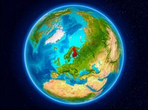 Finland on Earth. Finland in red from Earth's orbit. 3D illustration. Elements of this image furnished by NASA Stock Photos
