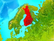 Finland in red on Earth. Finland highlighted in red on planet Earth. 3D illustration. Elements of this image furnished by NASA Royalty Free Stock Photos