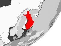 Finland in red on grey map. Illustration of Finland highlighted in red on grey globe with transparent oceans. 3D illustration Stock Images