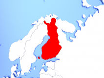 Finland in red on map. Map of Finland highlighted in red on simple shiny metallic map with clear country borders. 3D illustration Stock Photo