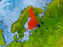 Map of Finland. Finland in red on realistic map with embossed countries. 3D illustration. Elements of this image furnished by NASA Royalty Free Stock Photography