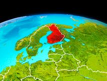 Finland in red. Satellite view of Finland highlighted in red on planet Earth with borderlines. 3D illustration. Elements of this image furnished by NASA Royalty Free Stock Photo