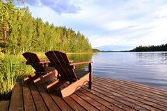Finland. Relaxing summer scenery by the lake in Finland Royalty Free Stock Image