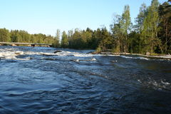 Finland. River thresholds in Langikoski Royalty Free Stock Photos
