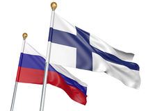 Finland and Russia flags flying together for important diplomatic talks, 3D rendering. National flags from Finland and Russia flying side by side to represent Royalty Free Stock Image